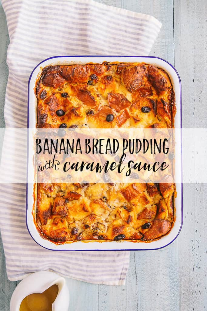 This banana bread pudding with caramel sauce is ohh so yummy for dessert. It's easy to bake for a crowd!