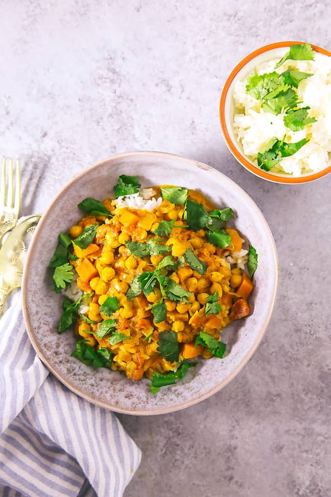 This tasty Instant Pot chickpea curry uses mostly ingredients from your pantry and is a weeknight staple!