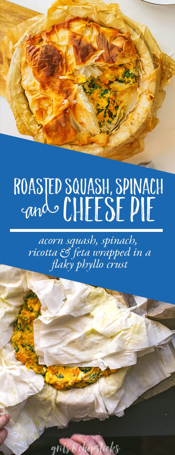 Try this roasted squash, spinach and cheese pie for the best vegetarian weeknight meal!