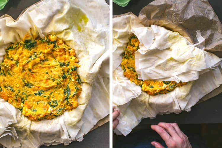 Try this roasted squash, spinach and cheese pie wrapped in phyllo pastry for your next Meatless Monday!