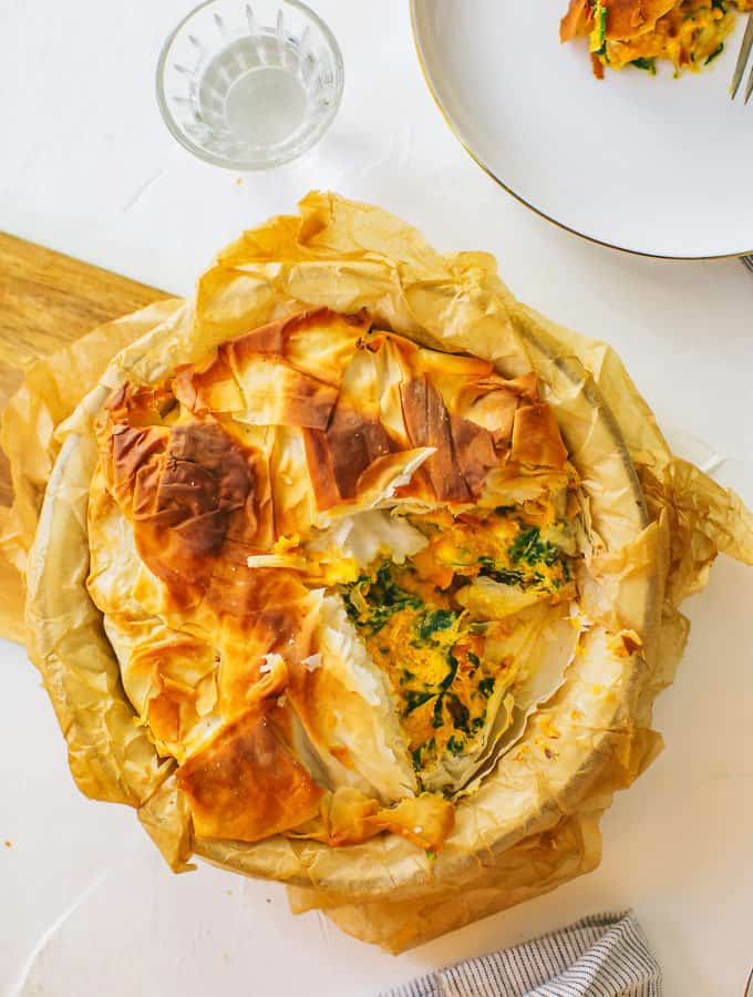 Try this squash, spinach and cheese pie wrapped in phyllo pastry for your next Meatless Monday!