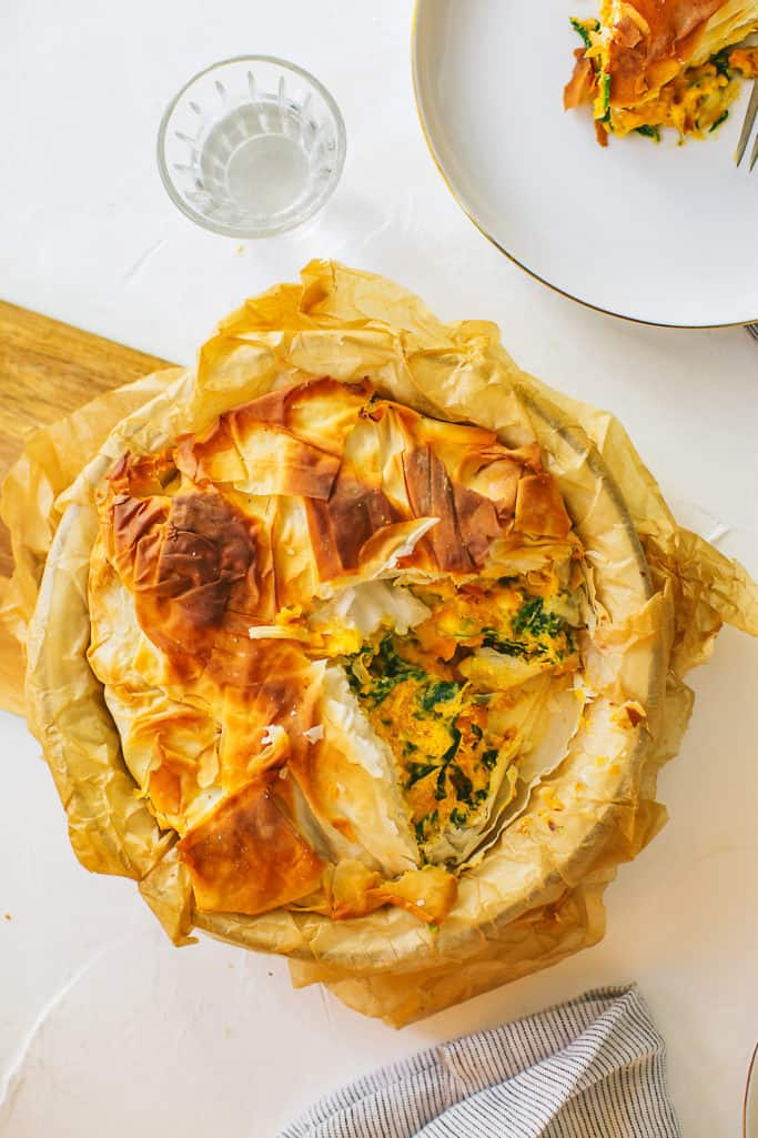 spinach, squash and feta phyllo pie