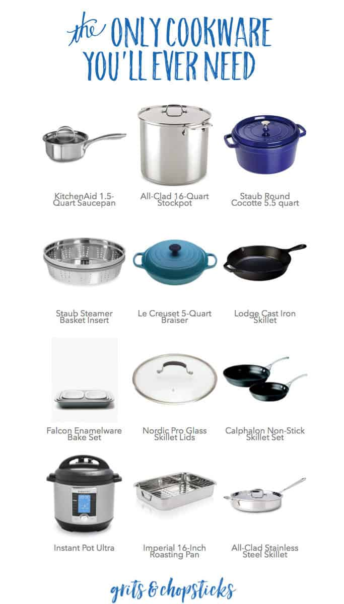 Check out this roundup of the only cookware you'll ever need to cook like a pro! From the most gorgeous blue Dutch oven to a practical roasting pan, we've got you covered!