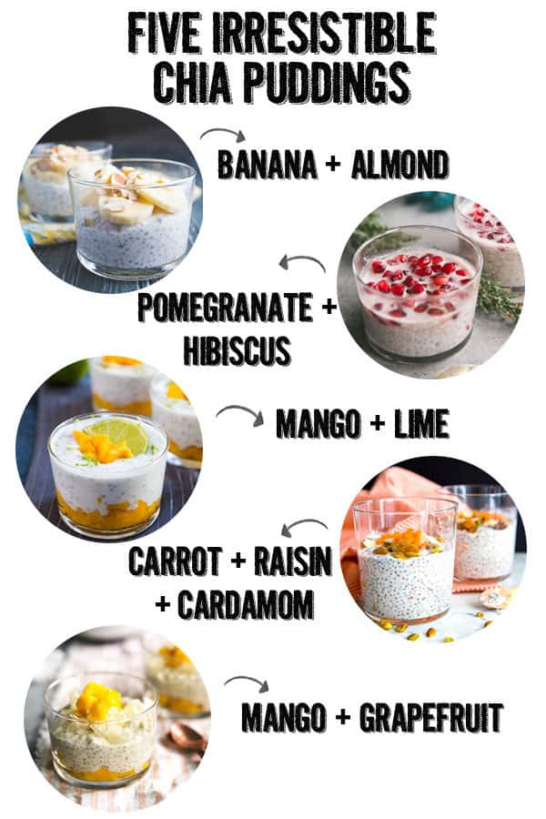 five chia puddings