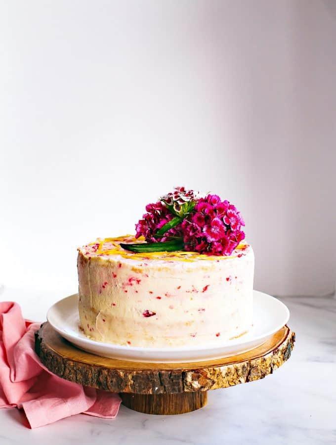 Raspberry and Lemon Curd Chiffon Cake