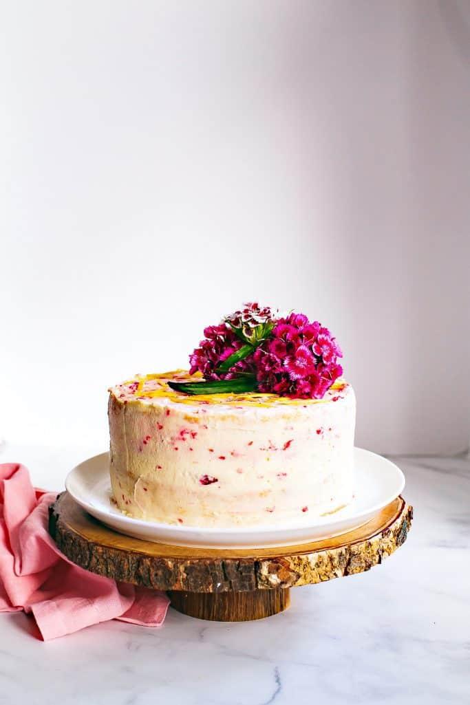 raspberry and lemon chiffon cake