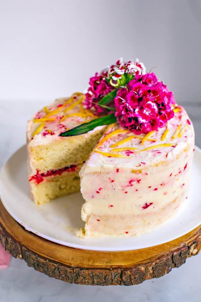 raspberry and lemon curd chiffon cake