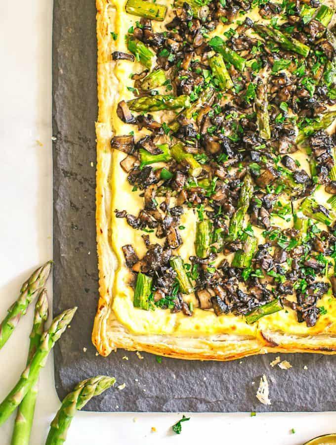 mushroom asparagus and ricotta tart