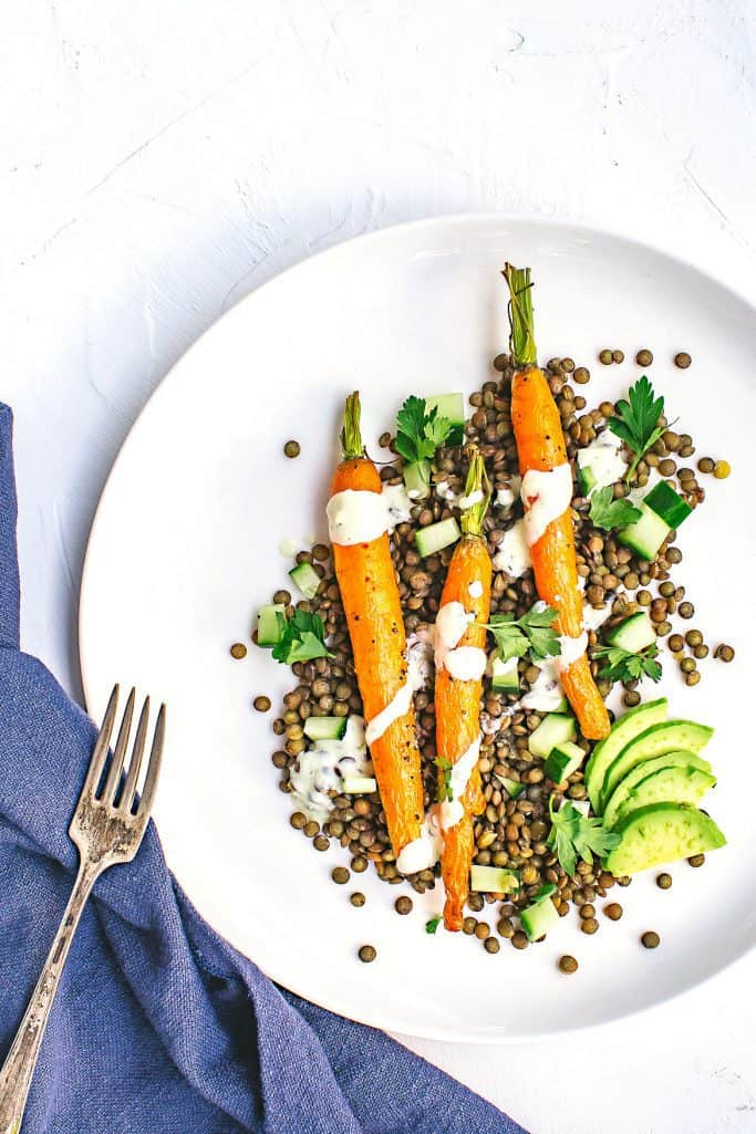 roasted carrot and lentil salad