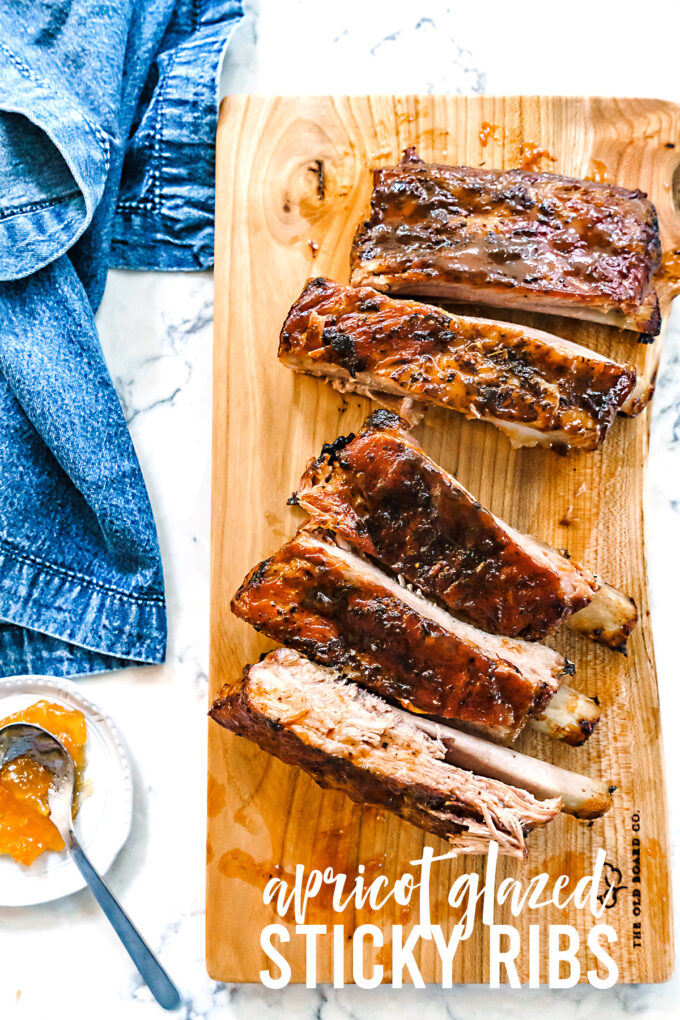 apricot glazed sticky pork ribs