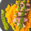 "whole 30 lamb, mint chimichurri & butternut ""rice"""